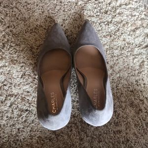 Gray Suede Pointed Toe Heels